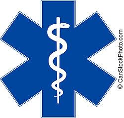 nöd medicin, symbol, stjärna, av, liv, isolerat, vita