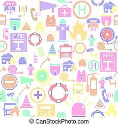 nödläge, seamless, bakgrund, icon., mönster