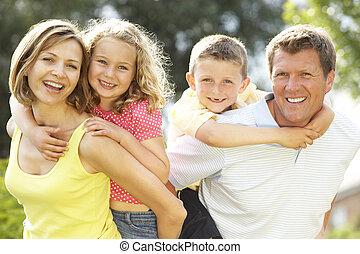 nöje, bygd, ha, familj