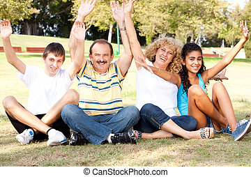 nöje, ha, ung, familj, natur