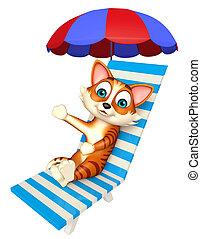 nöje, katt, tecknad film, tecken, med, stranden stolen