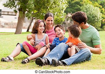 nöje, parkera, ha, familj, lycklig