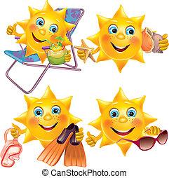 nöje, sol, på semester