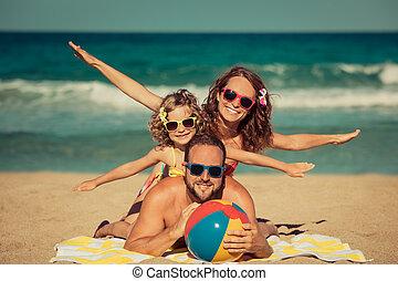 nöje, strand, ha, familj, lycklig