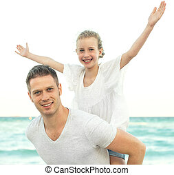 nöje, strand., ha, familj, lycklig