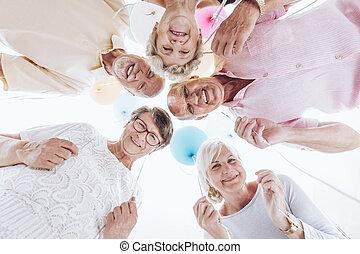 nöje, vänner, äldre, ha