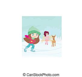nöje, vinter, dag, snö