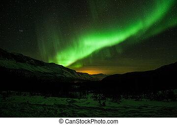 nördliche lichter, in, schweden
