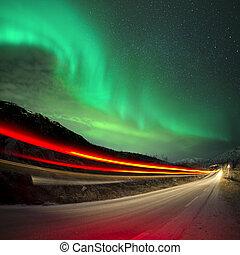 nördliche lichter, und, spuren