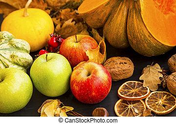 nötter, falla, höst, äpplen, pumpor, frukter, kryddor, skörda