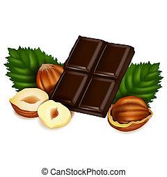 nötter, och, choklad