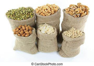 nötter, och, frö, in, säckväv, bags.