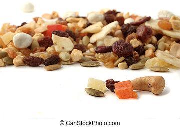 nötter, och, frukter