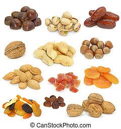 nötter, och, torkat, frukter
