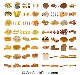 nötter, pasta, bread