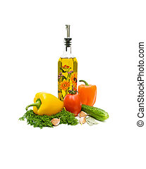 növényi, és, olívaolaj, képben látható, egy, fehér