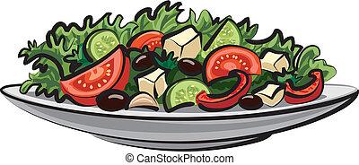 növényi, friss, saláta