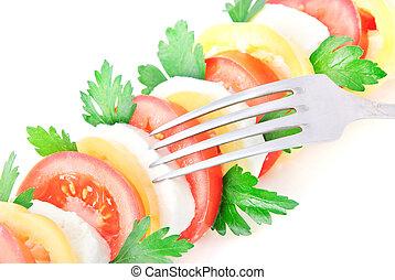 növényi, friss, saláta, sajt