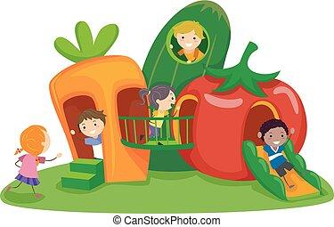 növényi, gyerekek, stickman, játszótér, ábra