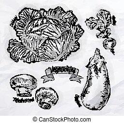 növényi, káposzta, padlizsán, retkek, gombák, szüret