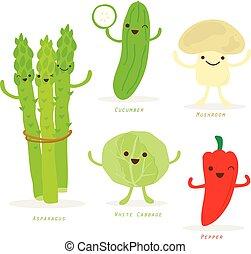növényi, karikatúra, csinos, állhatatos, vektor