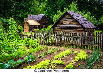 növényi kert, és, épületek, -ban, a, hegy, tanya, múzeum, alatt, th