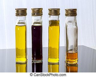 növényi, kivezetés, olaj, pohár, áttetsző, csavar, palack