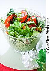 növényi, saláta, alatt, egy, zöld, tál
