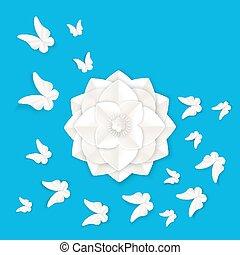 növényvilág, tropikus, pillangók, alapismeretek, fényűzés, origami, white virág