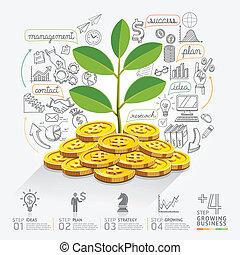 növekedés, opció, ügy, infographics
