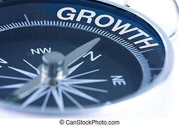 növekedés, szó, képben látható, iránytű