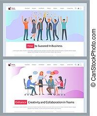 növel, együttműködés, sablon, website, következik, kreativitás, vektor, hogyan, ügy sportcsapat