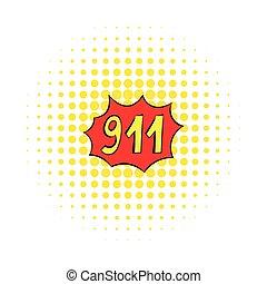 nødsituation, 911, ikon, comics, firmanavnet
