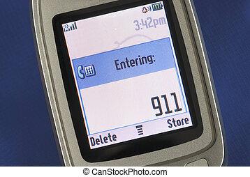 nødsituation, antal, 911, displayed, på, en, celle telefon