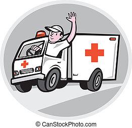 nødsituation, chauffør ambulance, vink, køretøj, cartoon