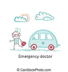 nødsituation, doktor, hos, den, maskine
