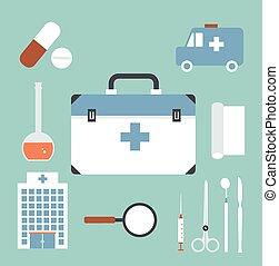 nødsituation, doktor, illustration