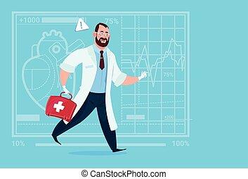 nødsituation, doktor, løb, hos, medicin, æske, først hjælpemiddel, medicinske klinikker, arbejder, hospitalet
