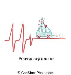 nødsituation, doktor, rejse, af, automobilen, på, ecg