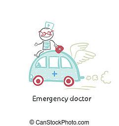nødsituation, doktor, rejse, af, automobilen