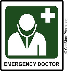 nødsituation, doktor, symbol, ind, mærkaten, etikette, by, almenheden, steder