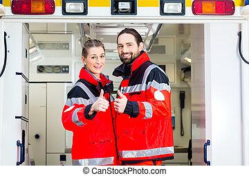 nødsituation, doktor, uden for, ambulance
