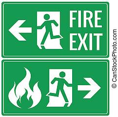 nødsituation, ild udgang, dør, tegn