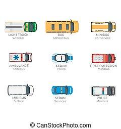 nødsituation køretøjer, top udsigt, vektor, iconerne, sæt