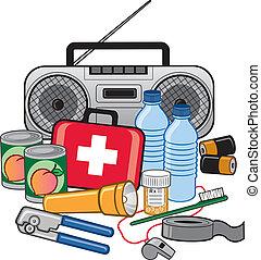 nødsituation, overleven, beredskab, udstyr