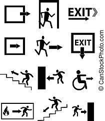 nødsituation udgang, tegn, ikon, sæt