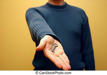 nøgle, hånd, 4