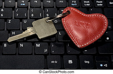 nøgle, hjerte, symbol, klaviatur