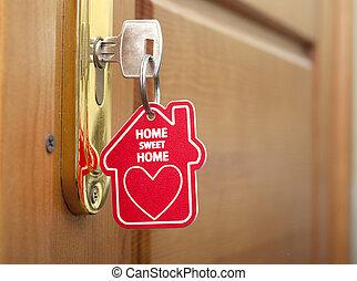 nøgle, hos, etikette, hjem