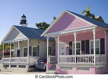 nøgle, huse, florida, vest, farverig